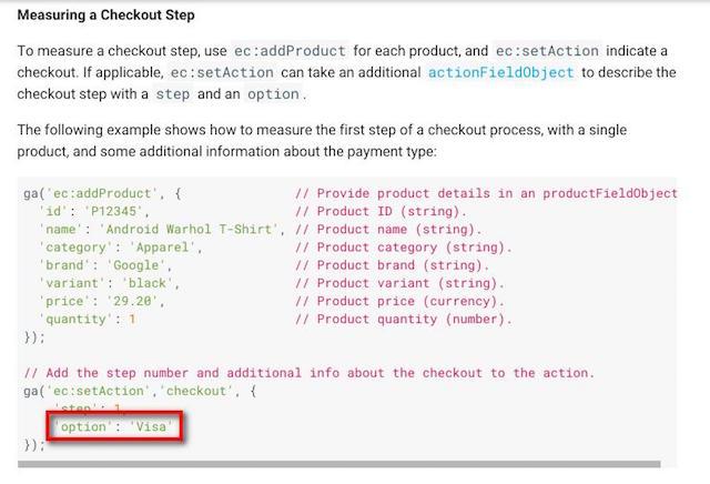 增強型電子商務追蹤碼欄位名稱:option