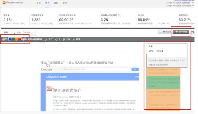 網頁活動分析之顯示顏色