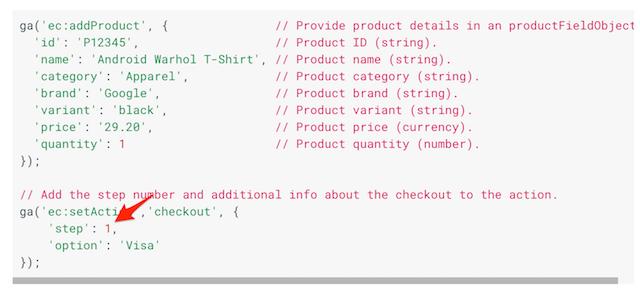Google Developers 的 結帳流程追蹤範例