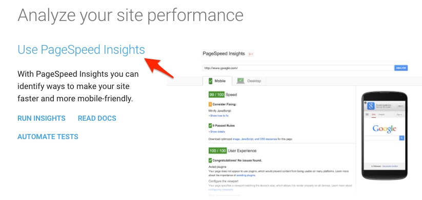 Use pagespeed insights