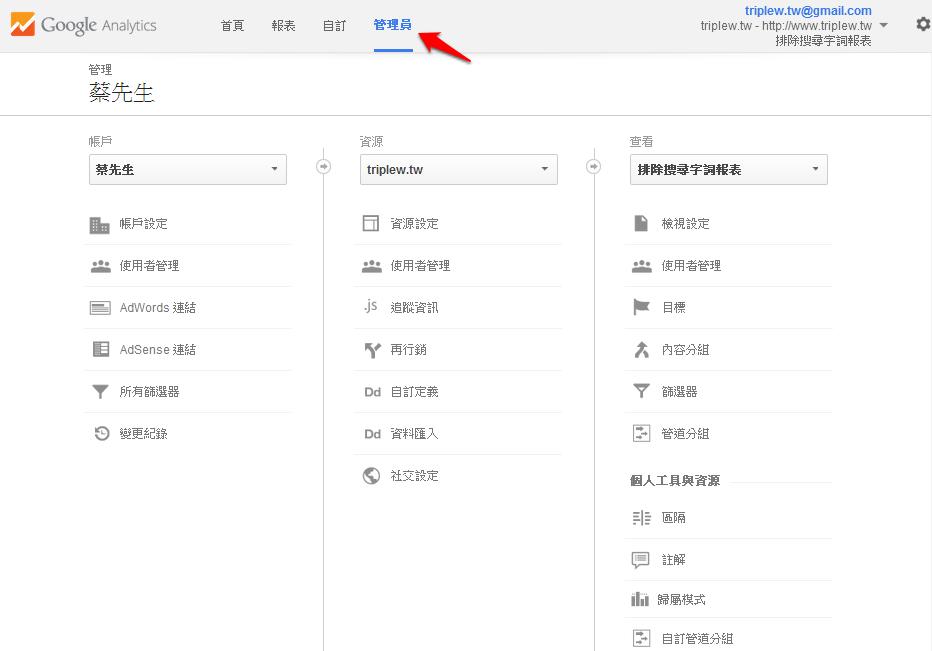 網站分析管理員介面 – 同一個帳戶的多網站資源管理