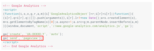 google analytics tracking code 的 send pageview