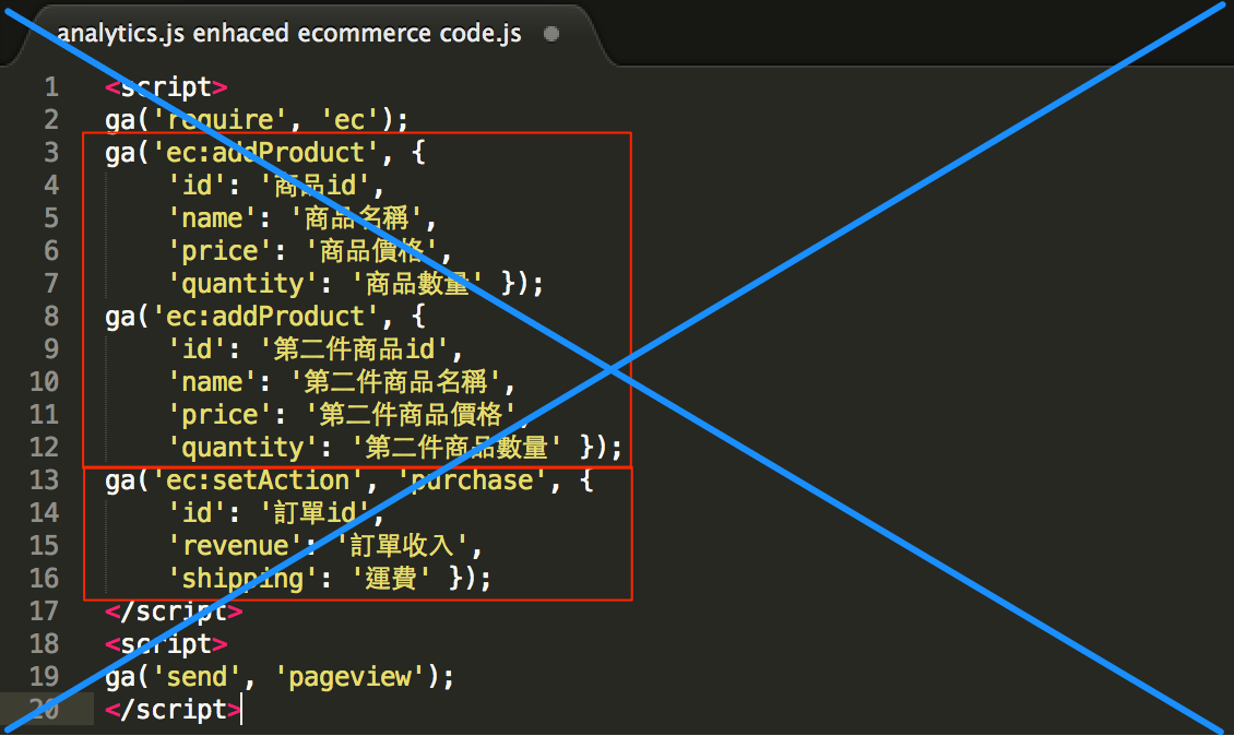 analytics_js ecommerce tracking code
