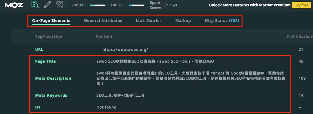 MozBar:快速檢視網頁 SEO 文案配置與撰寫