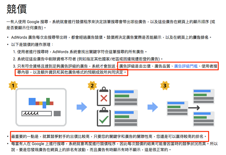 Google Adwords 競價機制