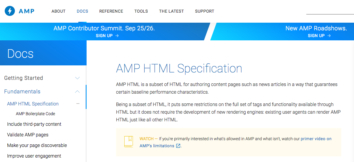 AMP 網頁有眾多規範