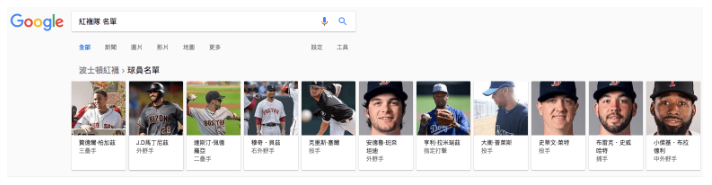 Google 搜尋結果頁面資訊