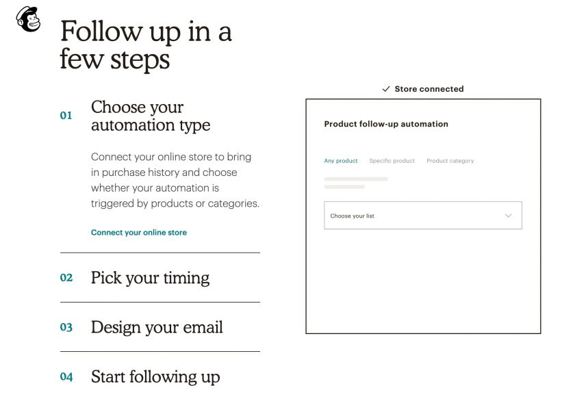 Mailchimp 產品銷售追蹤功能