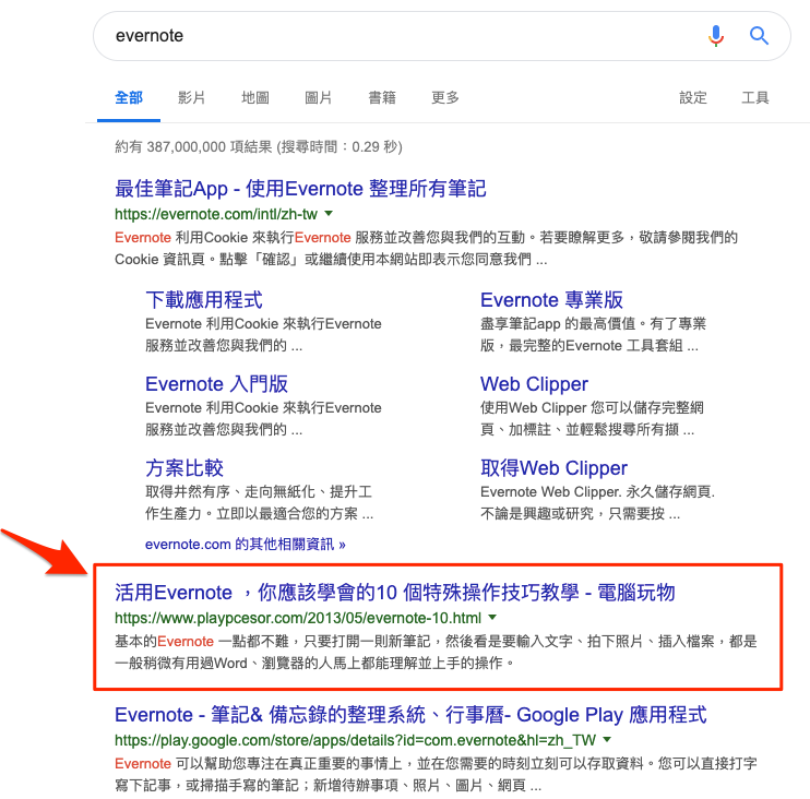 evernote serp