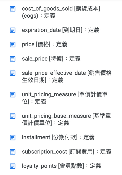 Product feed spec